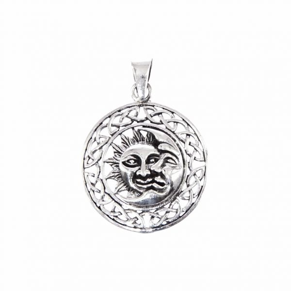 Sonne-Mond Anhänger keltischer Knoten Borte Mystik-Schmuck