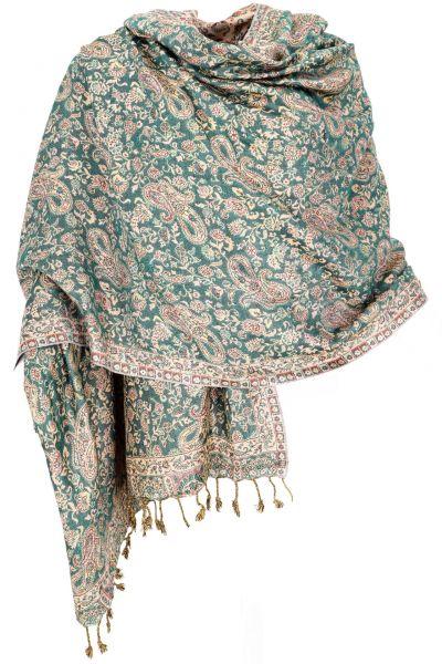 Dünner Akashi Schal mit Paisley Muster Grün-Beige