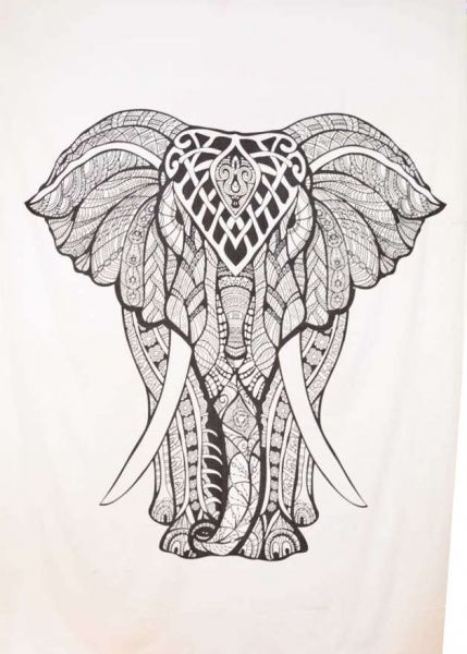 Elefant Wandtuch, Tagesdecke weiss