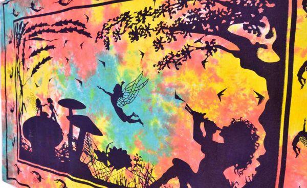 psychedelic elfen pilze goa Wandtuch