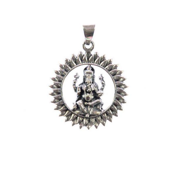 Ganesha im Lotus Silberanhänger 925-Silber Goa Schmuck