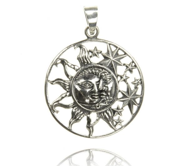 Sonne Mond Sterne Silberanhänger