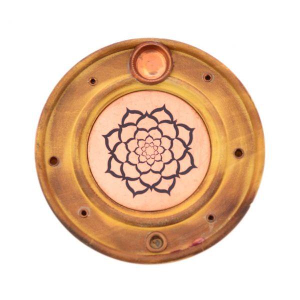 Holz Kupfer Lotusblüte Mandala Räucherstäbchenhalter