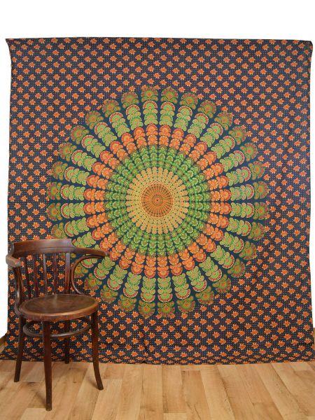 Pfauenrad Mandala Wandtuch gross, Tagesdecke Doppelbett