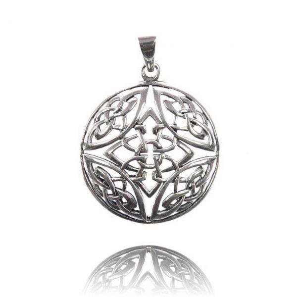 Großer runder Silberanhänger mit komplexem keltischen Knoten