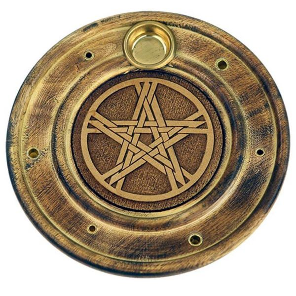 Runder Pentagramm Räucherstäbchenhalter Holz