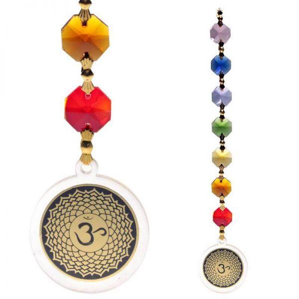 Kronenchakra Feng-Shui Fensterdekoration Sieben chakrafarbige Kristalle