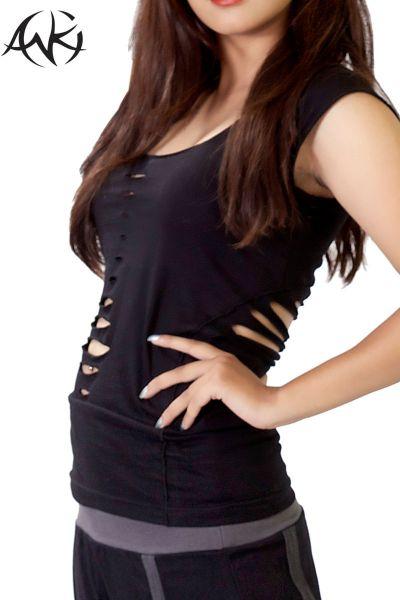 anki design rückenfrei razorcut sommershirt schwarz