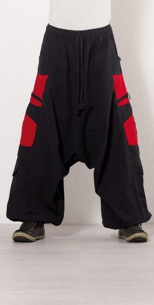 Coline Herren Pumphose Goa-HosePsywear Schwarz-Rot