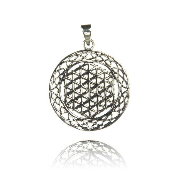 Blume des Lebens keltischer knoten Silber Anhänger Kette