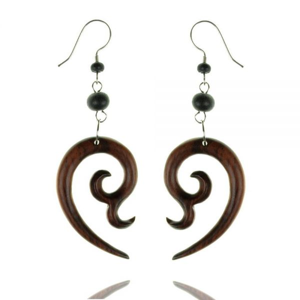 Tribal Holz-Ohrringe Paar