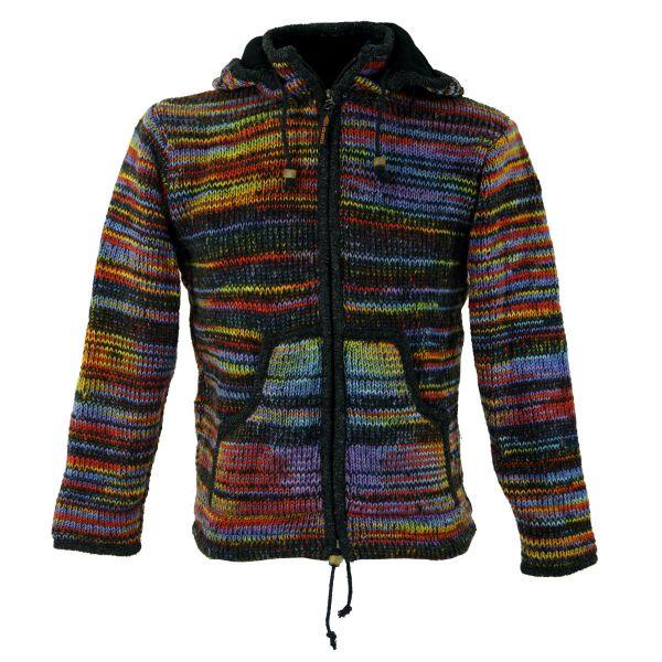 Regenbogen Wollstrickjacke