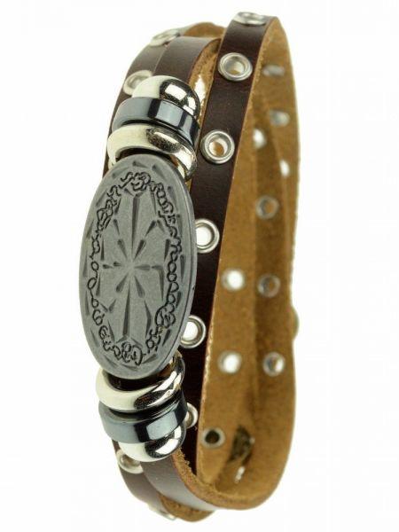 Leder-Wickelarmband, Perlen, Medallion