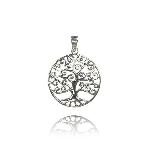 Baum Silber Kettenanhänger