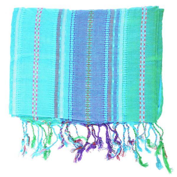 Leichter mehrfarbiger Viscose Schal indische Tücher Türkis