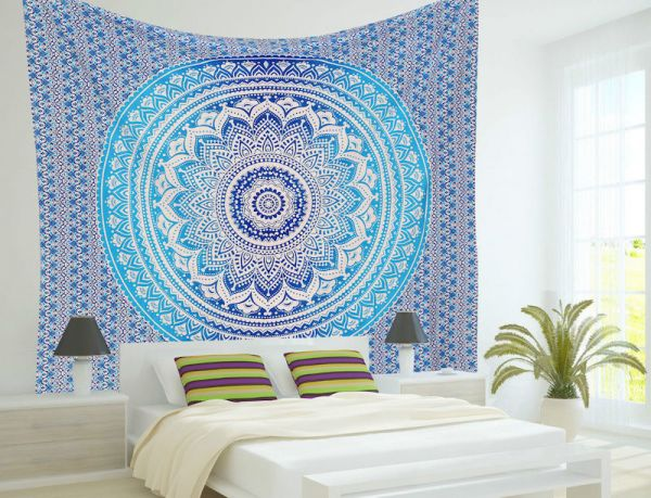 indisches mandala tuch, wandtuch blau, wandbehang, goa deko