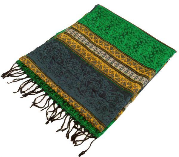 Dicker Ikat Schal, grün grau