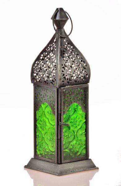 Quadratische Laterne Teelicht orientalischer Teelicht-Lampion Grün