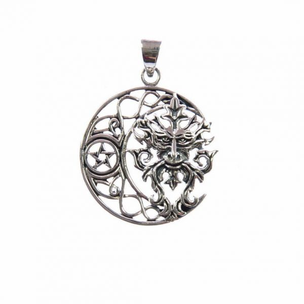 Grüner Mann Pentagramm Mond Keltischer Anhänger
