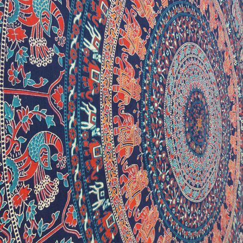 Mandala Wandtuch Elefanten, großes Tuch Tagesdecke