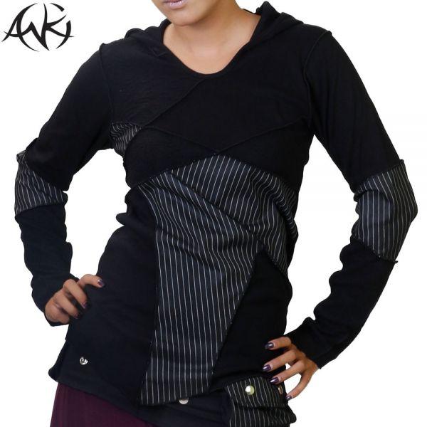 anki design zipfelkapuze longsleeve shirt, elfen langärmlig