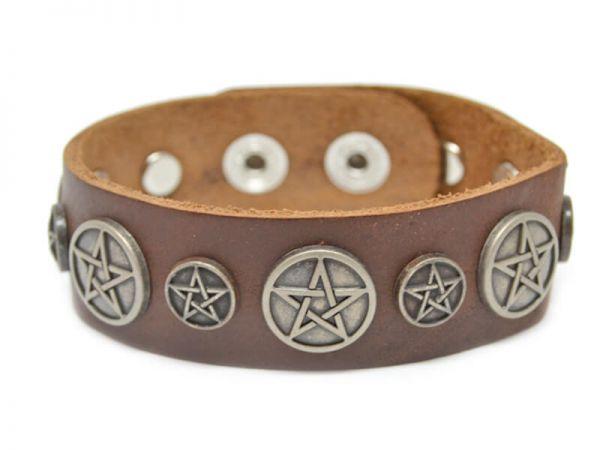 Pentagram Leder Armband Modeschmuck Talisman Rostock Braun