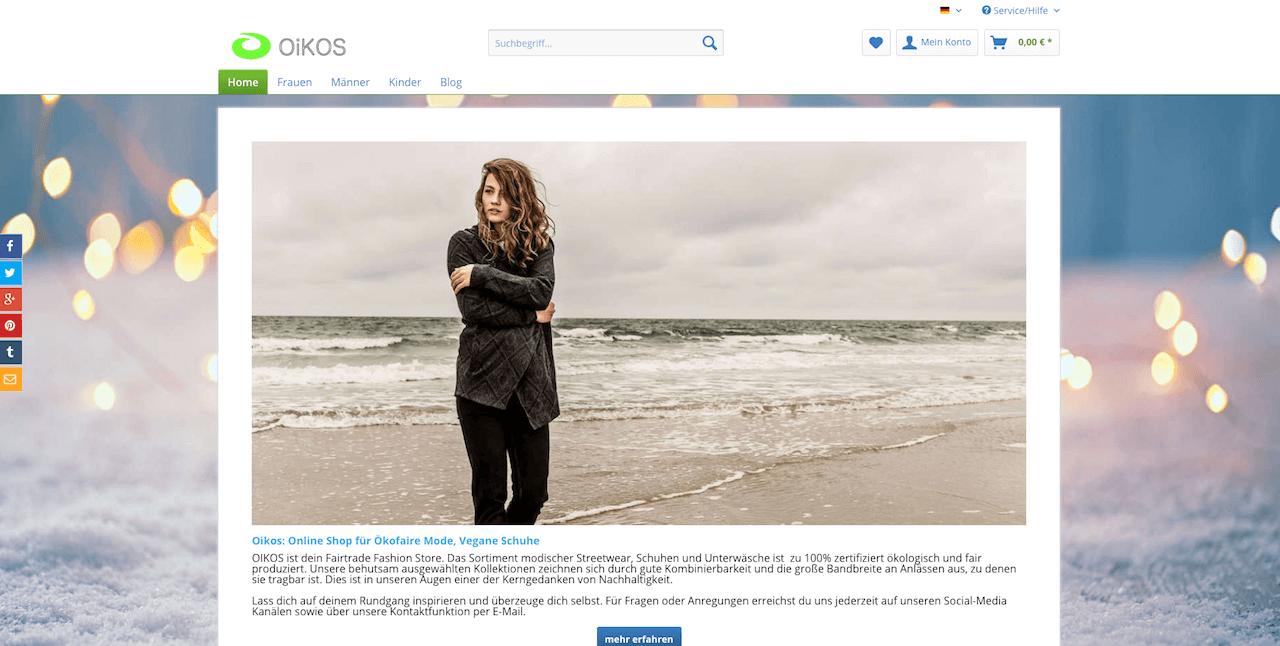 Oikos Rostock Webshop nachhaltige vegane Mode