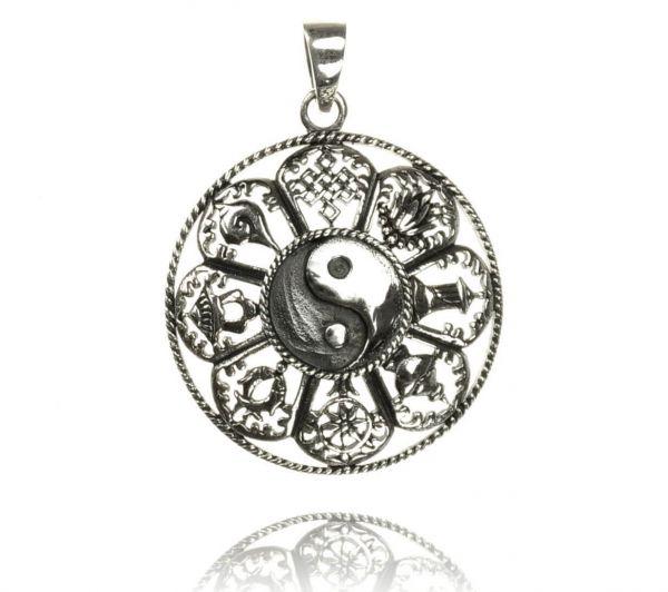 Yin-Yang Silberanhänger 8 verheißungsvolle buddhistische Symbole Reliquien
