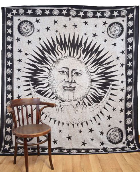 Wandtuch Sonne Mond gross Tuch Wandbehang