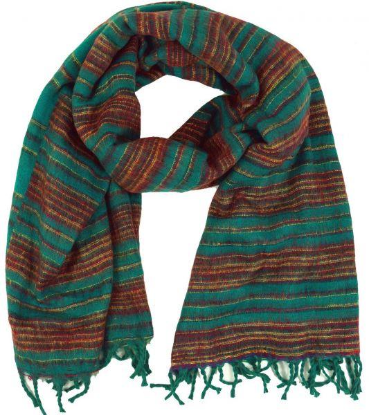 Weicher flauschiger Streifen-Schal, türkis