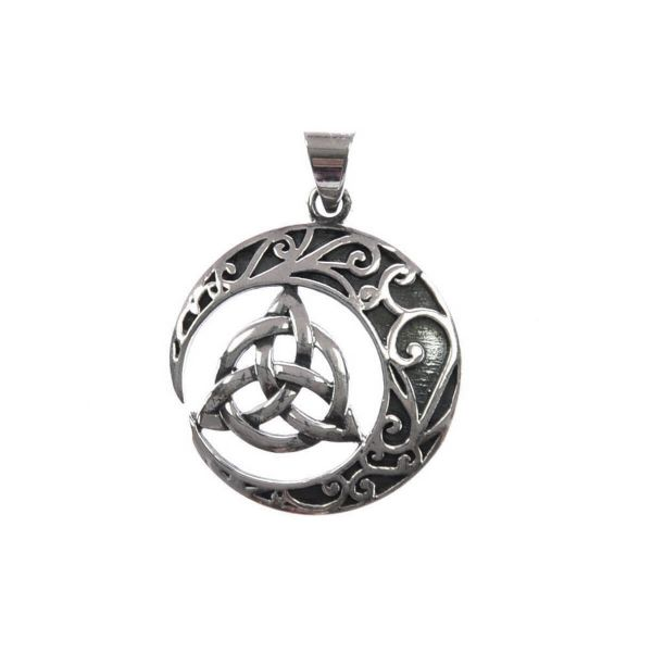 Keltischer Dreiecksknoten mit Mondmotiv Silberanhänger