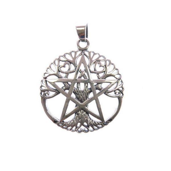 Silber Pentagramm Lebensbaum Anhänger
