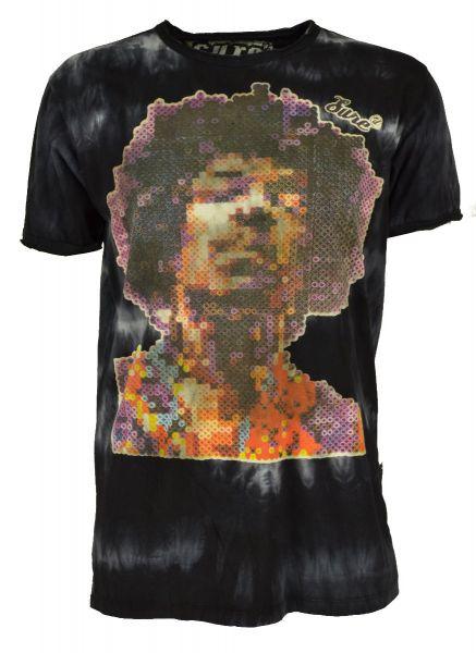 Jimmy Hendrix Batik T-Shirt Männer Schwarz