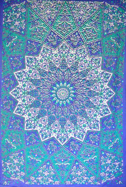 Mandala Wandtücher Blau Weiss Sternmandala