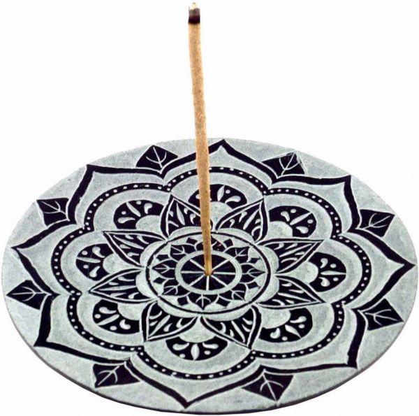 Speckstein Räucherhalter Lotus Mandala Räucherstäbchenhalter
