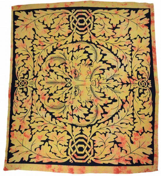 Keltisches Wandtuch, Der grüne Mann, Wandbehang, grosses Tuch Deko, Tagesdecke