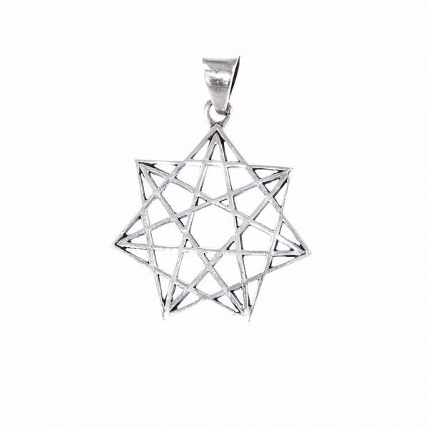 Komplex verbundener Siebenstern Silberanhänger magisches Amulett