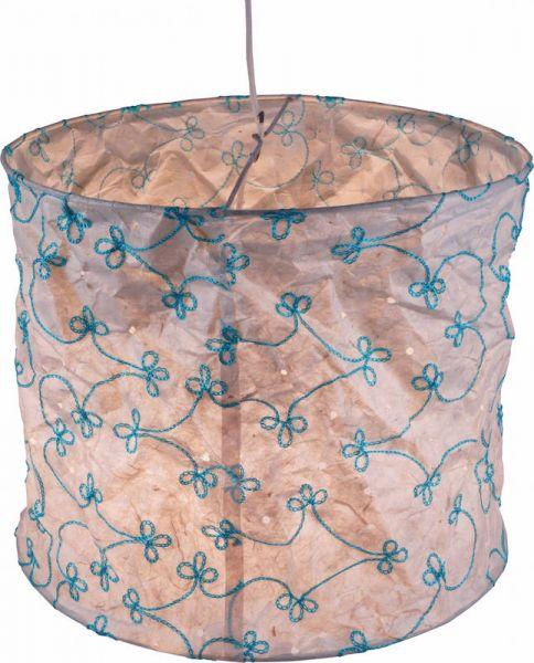 Papierlampenschirm, weiß - türkis bestickt