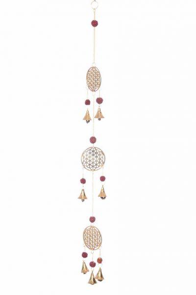 Blume des Lebens, Mobile Dreifach, Zierglöckchen, mit Rudraksha