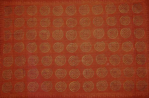Spiralen Sarong Baumwolle Tuch Lunghi Terracotta Naturfarbe