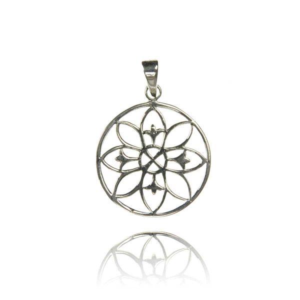 Moderner Blumen Motiv Silberanhänger
