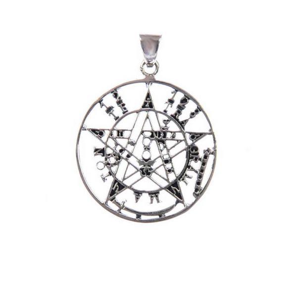 Teufelsfalle Pentagramm Silberanhänger offen