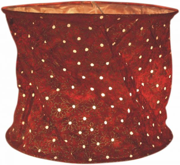 Papierlampenschirm, rot - weiße Pünktchen
