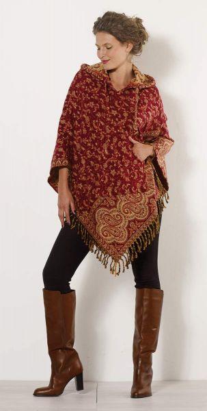 Coline Paisely-Poncho Kapuze Goa Kleidung, Fransensaum