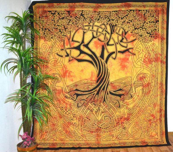 Wandtuch Keltischer Lebensbaum grosse indische Tagesdecke