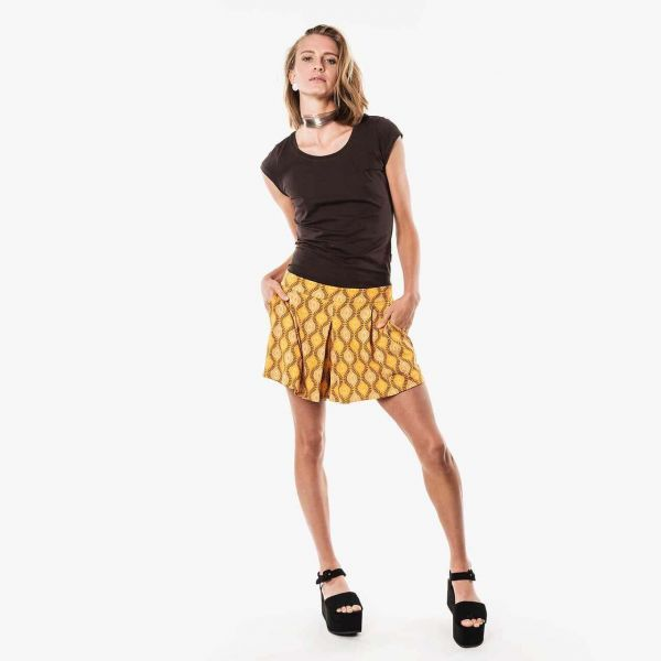 Moshiki Ethno Shorts Bundfalte Gelb Fairtrade