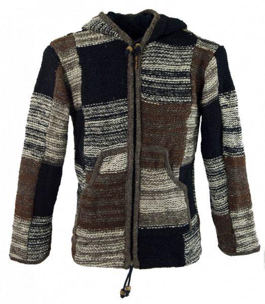 Strickjacke aus Schafwolle Patchwork
