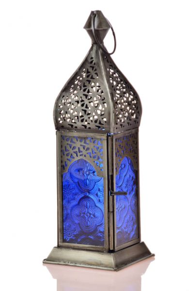 Quadratische Laterne Teelicht orientalischer Teelicht-Lampion Blau