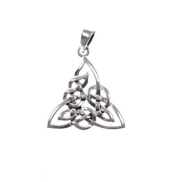 Verzierter keltischer Dreiecksknoten echt 925er Silberanhänger