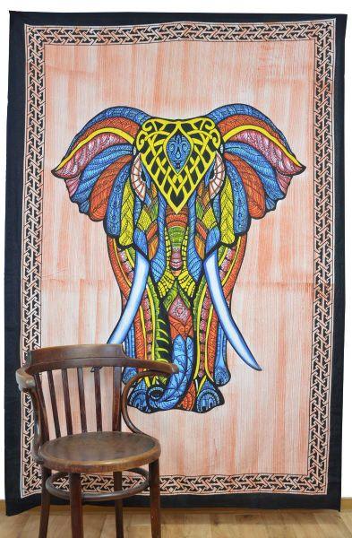 Elefant Wandtuch gross indisch Tuch Deko